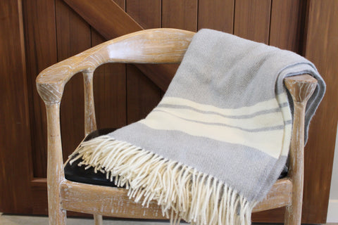 Mt Somers Station Lambs Wool Blanket - Soft Grey Stripe