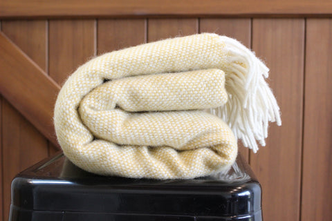 Mt Somers Station Lambs Wool Blanket - Mustard Basket Weave