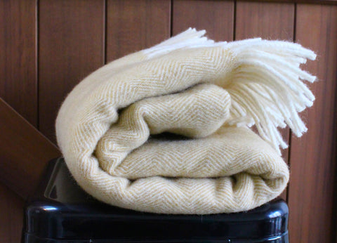 Mt Somers Station Lambs Wool Blanket - Mustard Herringbone