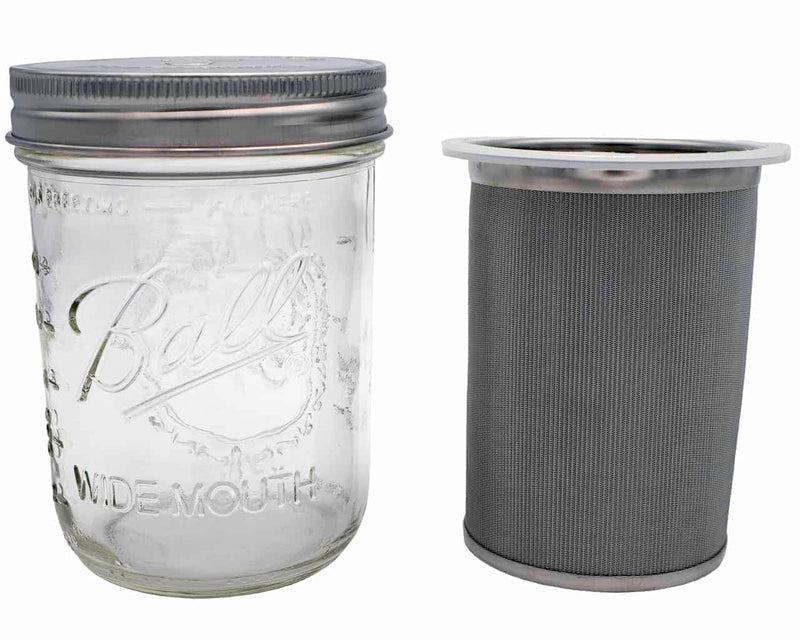 New! Cold Brew Coffee and Tea Maker Stainless Steel Filter with Mason Jar (16 or 32 oz) + 1/2 LB Cold Brew Coffee!