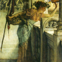 100% Hand Painted Oil on Canvas - A Bacchantin - 'There he is!'  by Alma-Tadema