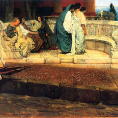 100% Hand Painted Oil on Canvas - A Exedra by Alma-Tadema