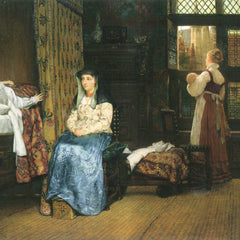100% Hand Painted Oil on Canvas - A birth Chamber, Seventeenth Century by Alma-Tadema