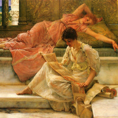 100% Hand Painted Oil on Canvas - A favorite poet by Alma-Tadema