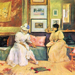 100% Hand Painted Oil on Canvas - A friendly visit by William Merritt Chase
