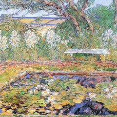 100% Hand Painted Oil on Canvas - A garden on Long Island by Hassam