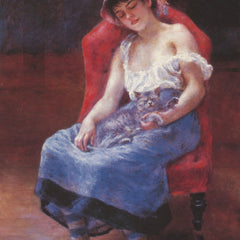 100% Hand Painted Oil on Canvas - A girl asleep by Renoir