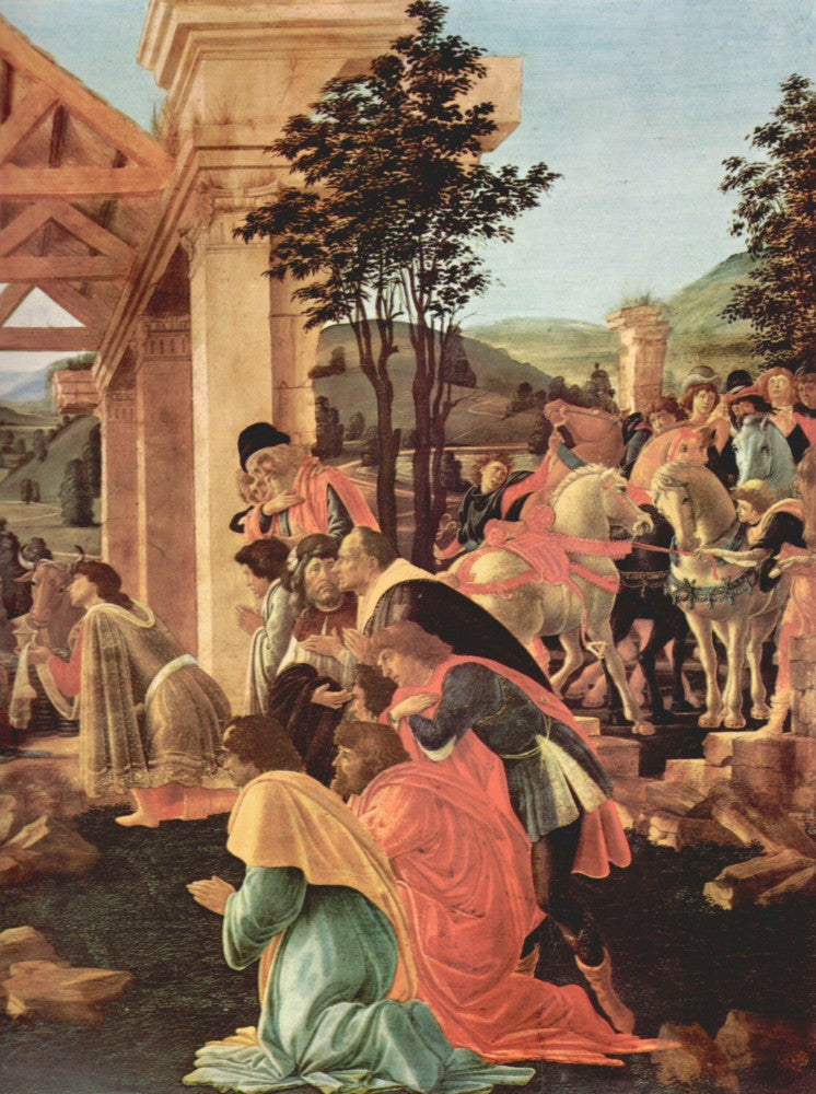 100% Hand Painted Oil on Canvas - Adoration of the Magi (Washington) Detail 2 by Botticelli