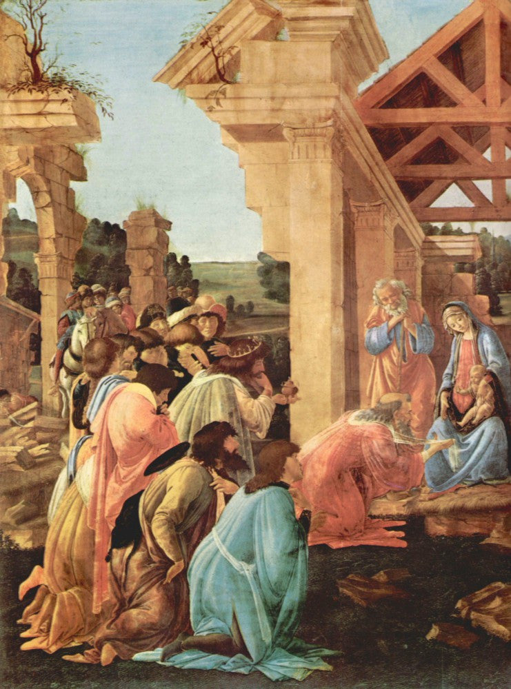 100% Hand Painted Oil on Canvas - Adoration of the Magi (Washington) Detail by Botticelli