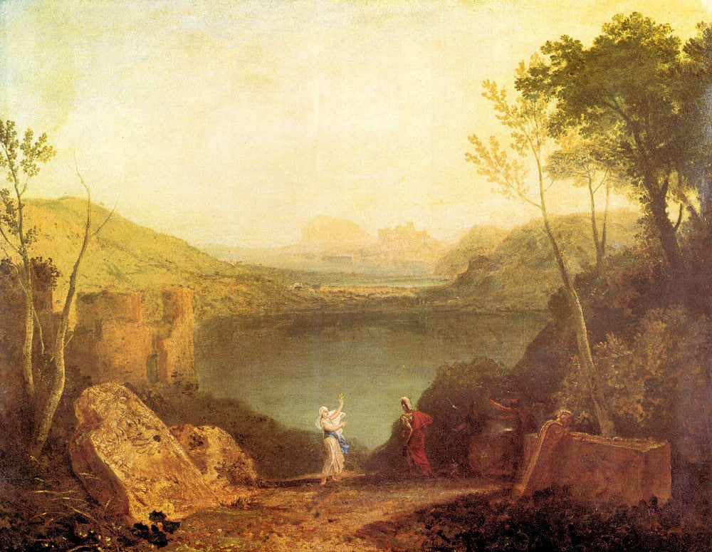 100% Hand Painted Oil on Canvas - Aeneas and  Cybelle at Lake Avernus by Joseph Mallord Turner