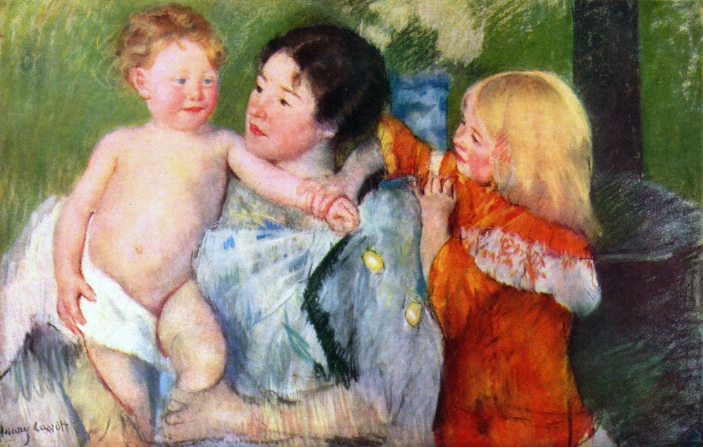 100% Hand Painted Oil on Canvas - After the bath by Mary Cassatt