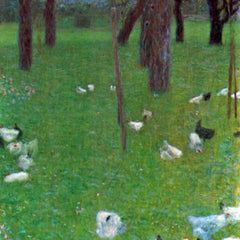 100% Hand Painted Oil on Canvas - After the rain (garden with chickens in St. Agatha) by Klimt