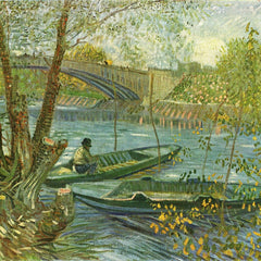 The Museum Outlet - Angler and boat at the Pont de Clichy by Van Gogh