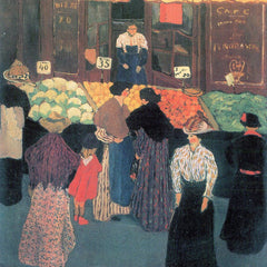 100% Hand Painted Oil on Canvas - At the market by Felix Vallotton