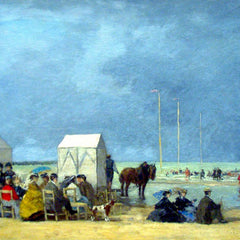 100% Hand Painted Oil on Canvas - Bathing Time at Deauville by Boudin
