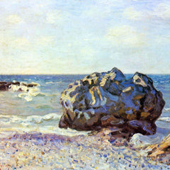 100% Hand Painted Oil on Canvas - Bay of long-country with rock by Sisley