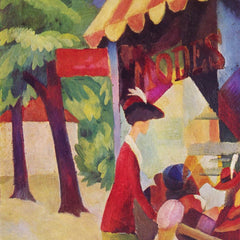 100% Hand Painted Oil on Canvas - Before Hutladen (woman with a red jacket and child) by Macke