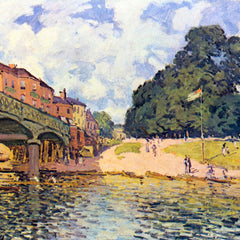 100% Hand Painted Oil on Canvas - Bridge on Hampton Court by Sisley