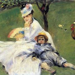 100% Hand Painted Oil on Canvas - Camille Monet and her son Jean in the garden of Argenteuil by Renoir