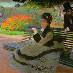 100% Hand Painted Oil on Canvas - Camille Monet on a garden bench