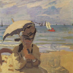 100% Hand Painted Oil on Canvas - Camille Monet on the beach at Trouville by Monet