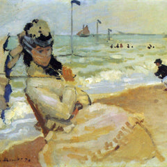 100% Hand Painted Oil on Canvas - Camille on the beach at Trouville by Monet