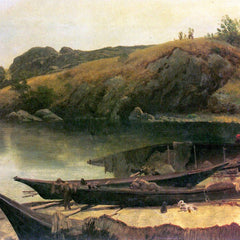 100% Hand Painted Oil on Canvas - Canoes by Bierstadt
