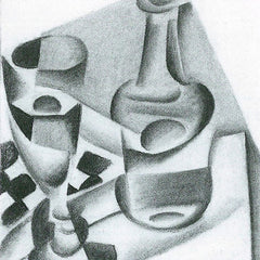 100% Hand Painted Oil on Canvas - Carafe, glass and chessboard by Juan Gris