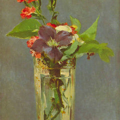 100% Hand Painted Oil on Canvas - Carnations and Clematis in a Crystal Vase by Edouard_Manet