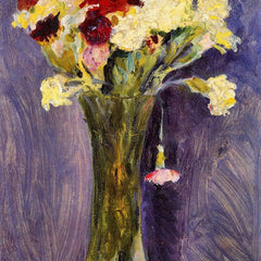 100% Hand Painted Oil on Canvas - Carnations in a green vase by August Macke