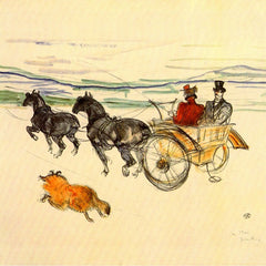 100% Hand Painted Oil on Canvas - Carriage by Toulouse-Lautrec