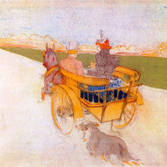 100% Hand Painted Oil on Canvas - Carriage with Dog by Toulouse-Lautrec