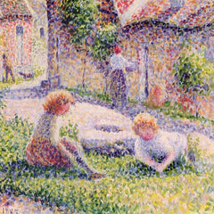 100% Hand Painted Oil on Canvas - Children on a farm by Pissarro