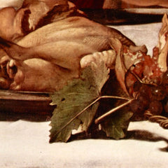 The Museum Outlet - Christ in Emmaus detail fruits and poultry by Caravaggio