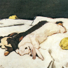 100% Hand Painted Oil on Canvas - Dead hares by Albin Egger-Lienz