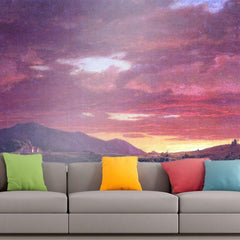 Roshni Arts - Curated Art Wall Mural - Dusk (sunset) by Frederick Edwin Church | Self-Adhesive Vinyl Furnishings Decor Wall Art