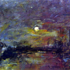 100% Hand Painted Oil on Canvas - Dusk on the port of Le Havre by Boudin
