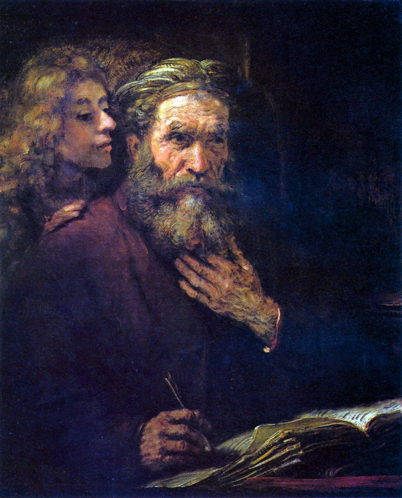 100% Hand Painted Oil on Canvas - Evangelist Mathew and the Angel by Rembrandt