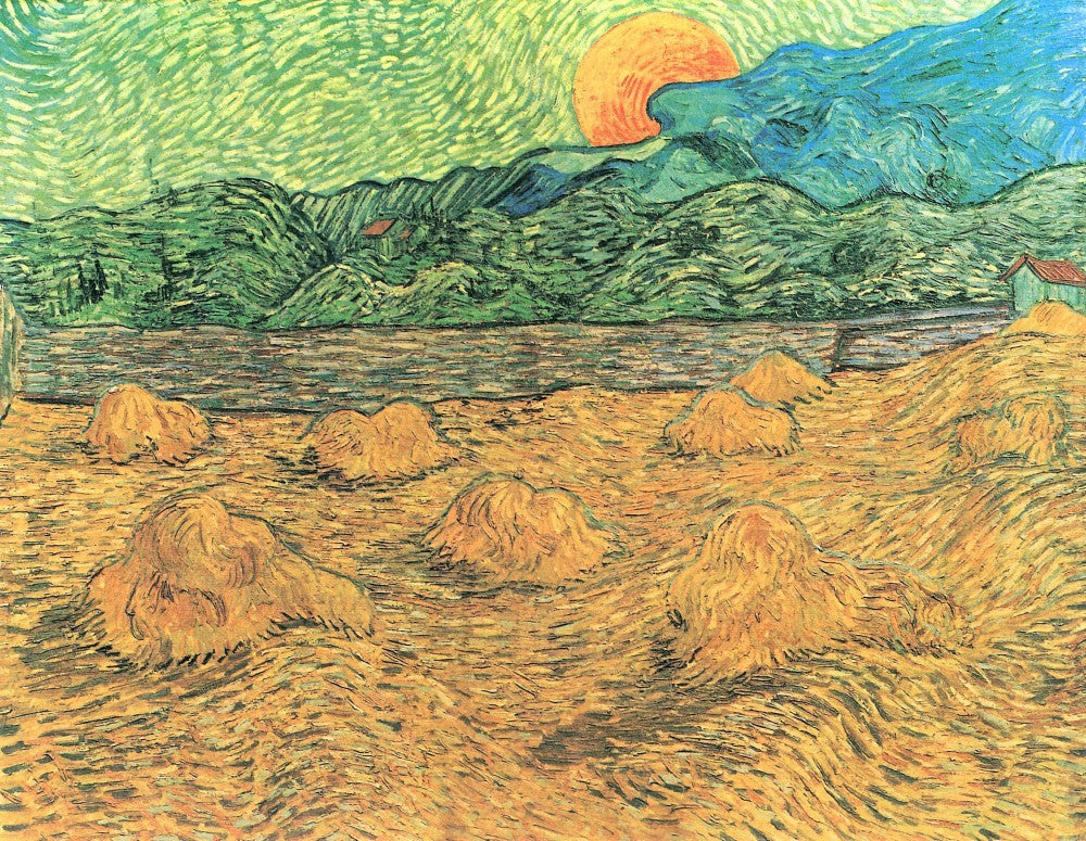 The Museum Outlet - Evening landscape at moonrise by Van Gogh