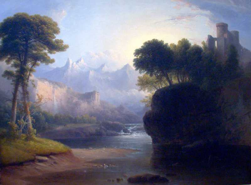 100% Hand Painted Oil on Canvas - Fanciful Landscape by  Thomas Doughty