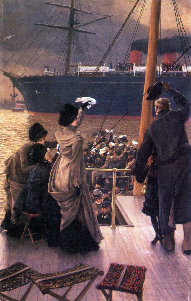 100% Hand Painted Oil on Canvas - Farewell to the Mersey by Tissot