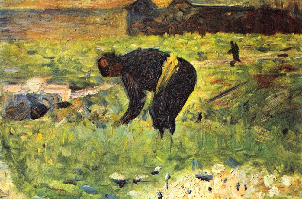100% Hand Painted Oil on Canvas - Farmer at work by Seurat