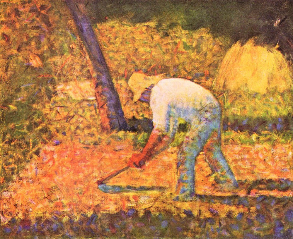 100% Hand Painted Oil on Canvas - Farmer with hoe by Seurat