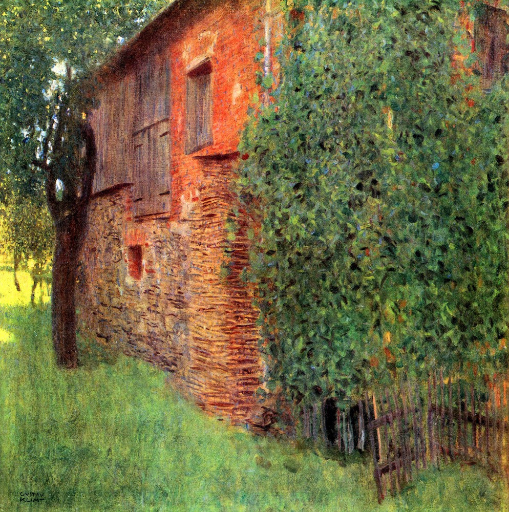100% Hand Painted Oil on Canvas - Farmhouse in Chamber in Attersee by Klimt