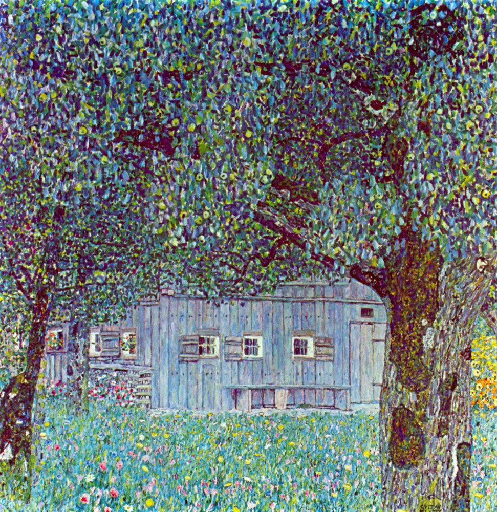 100% Hand Painted Oil on Canvas - Farmhouse in Upper Austria by Klimt