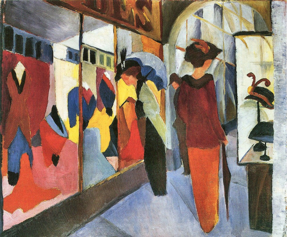 100% Hand Painted Oil on Canvas - Fashion Store by August Macke