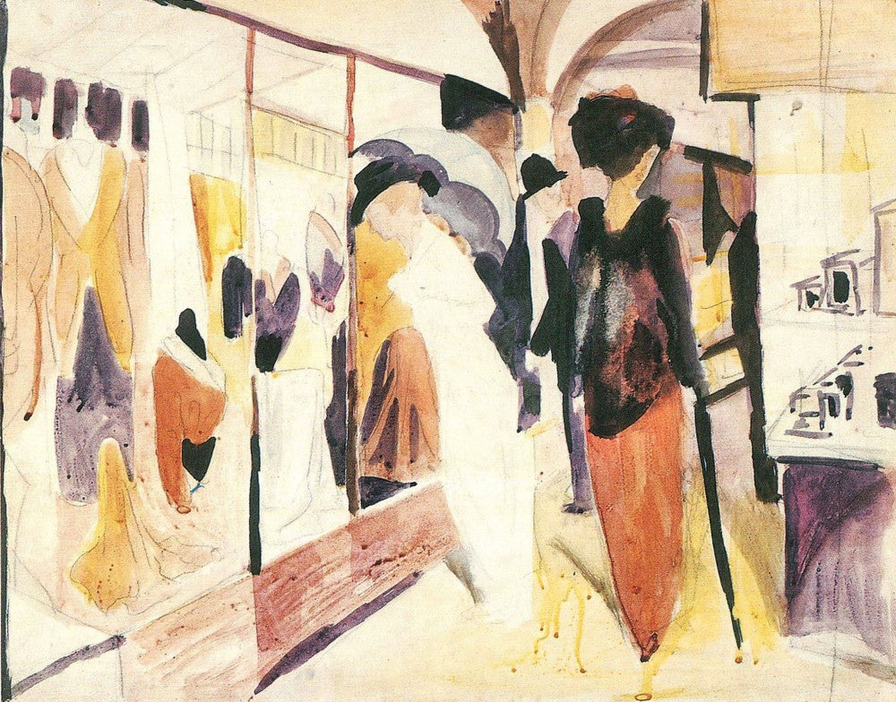 100% Hand Painted Oil on Canvas - Fashion shop porch by August Macke