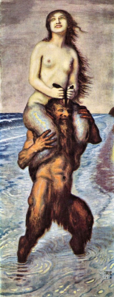 100% Hand Painted Oil on Canvas - Faun and Nixe by Franz von Stuck