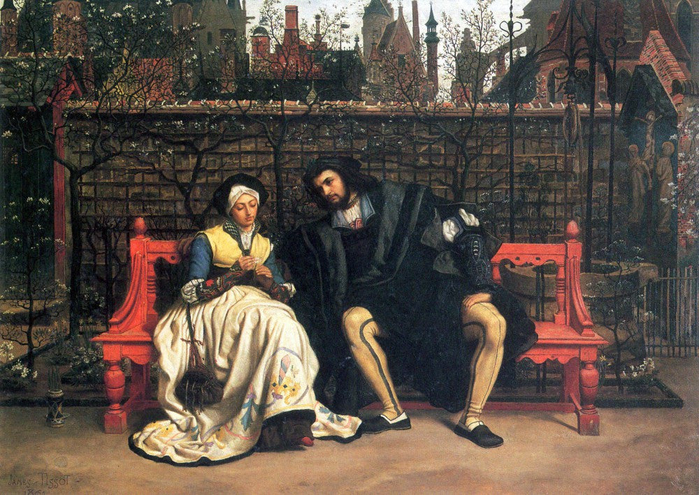 100% Hand Painted Oil on Canvas - Faust and Marguerite in the garden by Tissot