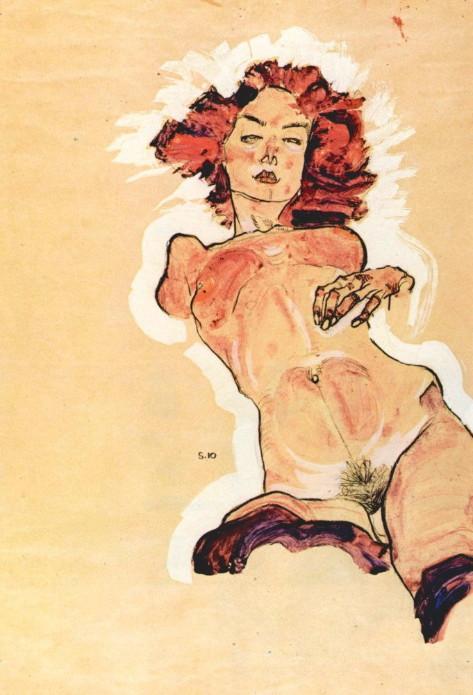 100% Hand Painted Oil on Canvas - Female Act by Egon Schiele